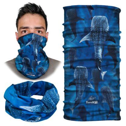Siluetas Tiburon Ballena - Banda Multifuncional Máscara Face Shield tipo Buff - Bandart Diseño por Artistas Mexicanos, Empresa Mexicana