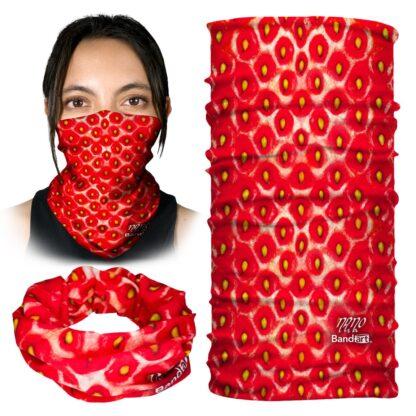 Fresa - Banda Multifuncional Máscara Face Shield tipo Buff - Bandart Diseño por Artistas Mexicanos, Empresa Mexicana